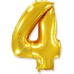 Воздушный шар (40''/102 см) Цифра, 4, Золото, 1 шт.